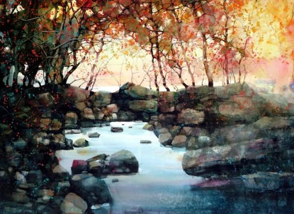ZLFeng2 600x438 the Design Cove  |  12 Beautiful Landscape Watercolors
