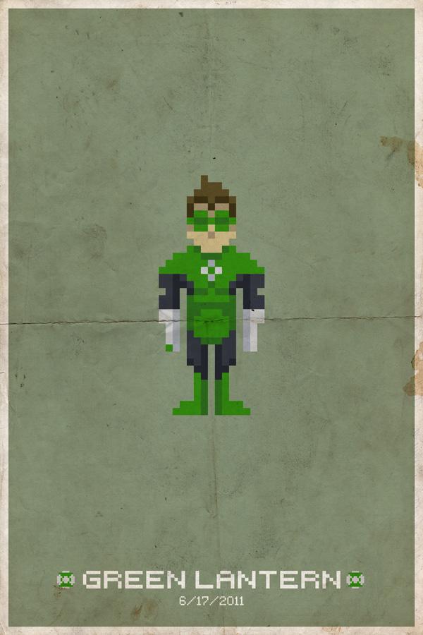 GreenLanternPixelPoster Comic Book Movie Pixel Posters