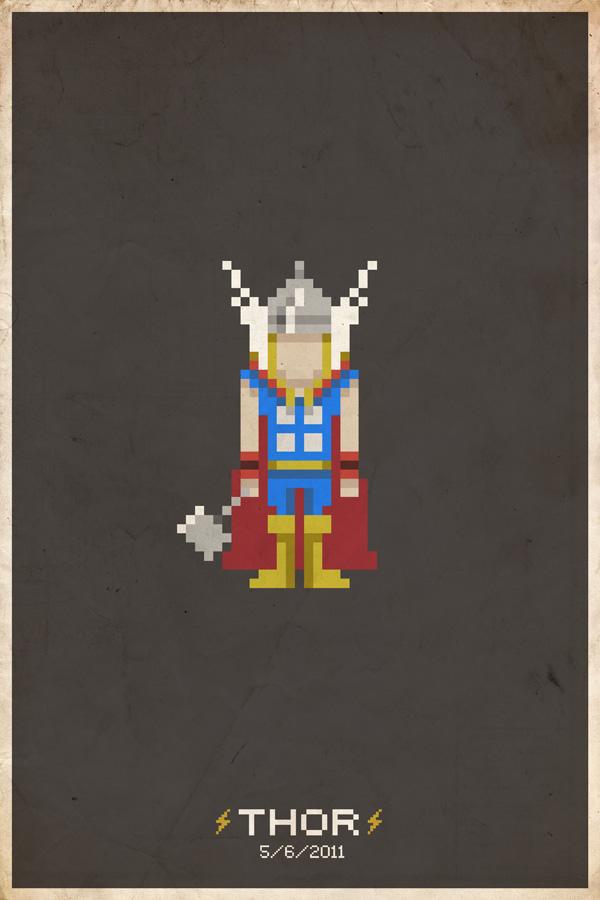 ThorPixelPoster Comic Book Movie Pixel Posters