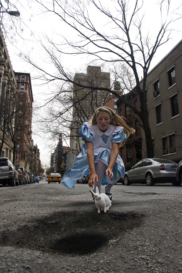 Alice in Wonderland 30th Street NYC Pothole Art: A Photographic Series By Claudia Ficca and Davide Luciano
