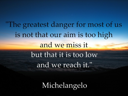 inspirational quote michelangelo sunrise