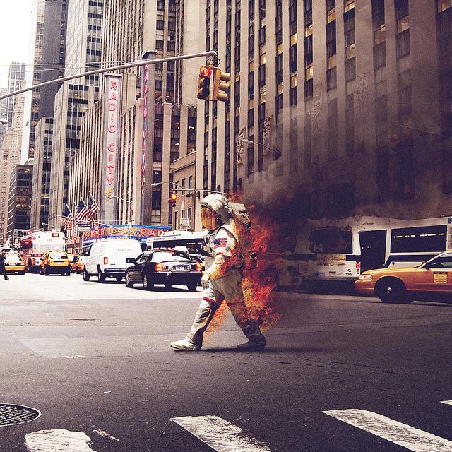 5410973192 34358c32dc z1 Astronaut on Fire Near Radio City Music Hall in NYC.