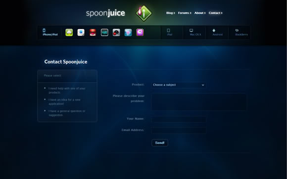 contact us spoon juice 15 Most Creative Contact Us Pages on Web