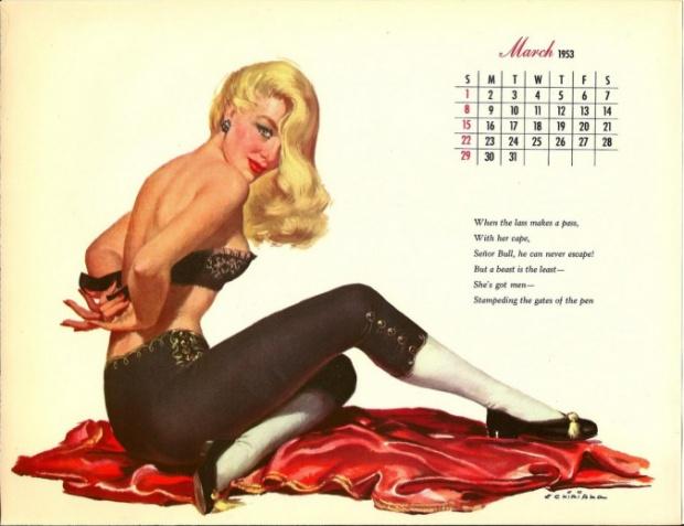 pc8a Vintage Pin Up Calendar Girls