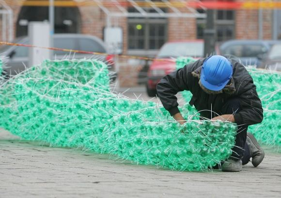 132265763419 Christmas tree made of plastic bottles in Kaunas, Lithuania