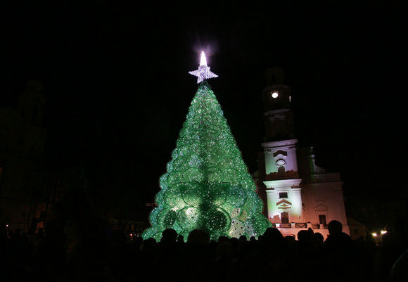 132301573624 Christmas tree made of plastic bottles in Kaunas, Lithuania