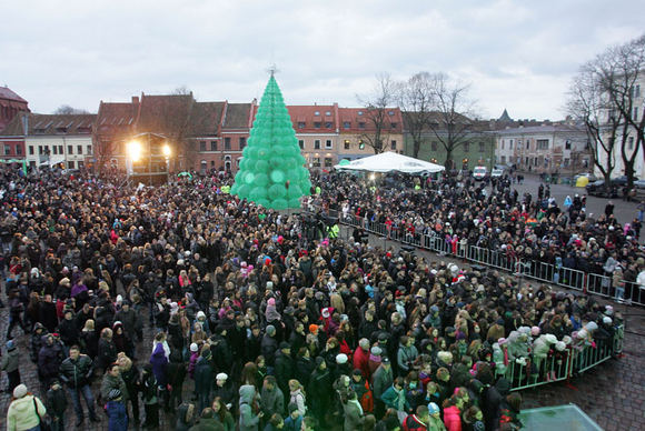 132301574403 Christmas tree made of plastic bottles in Kaunas, Lithuania