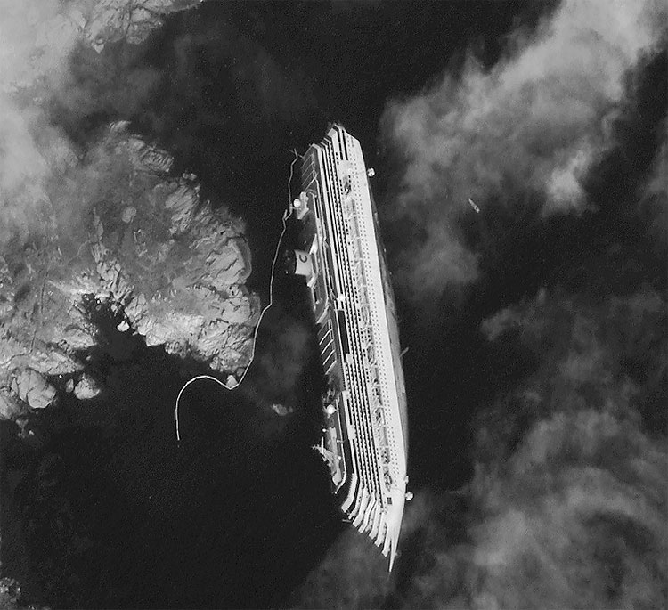 1164 Satellite Image Shows Stricken Costa Concordia From Space