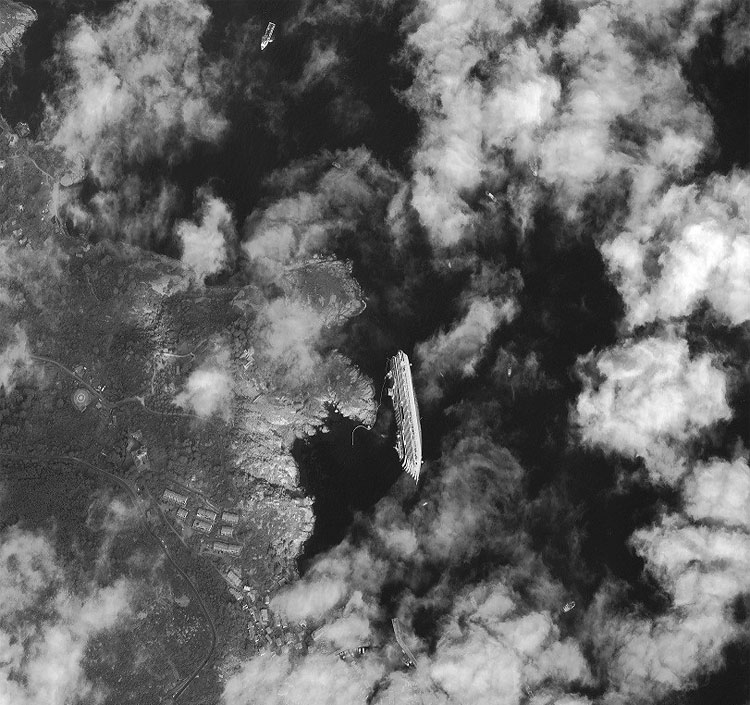 2102 Satellite Image Shows Stricken Costa Concordia From Space
