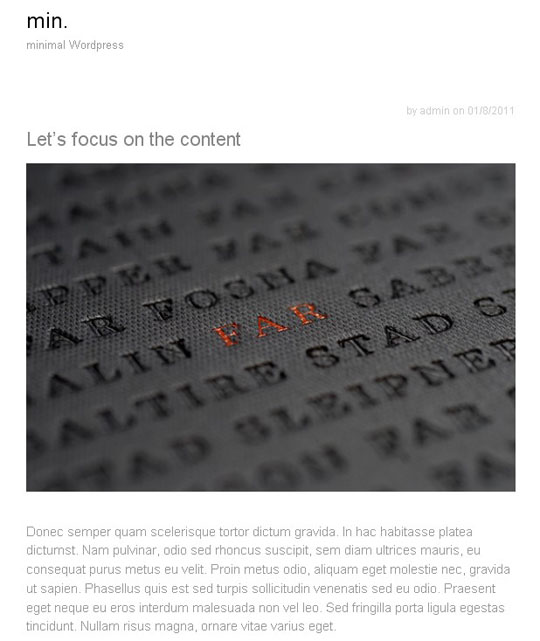 4.clean minimal wordpress themes 2012 Fresh Collection of Free Clean and Minimal WordPress Themes