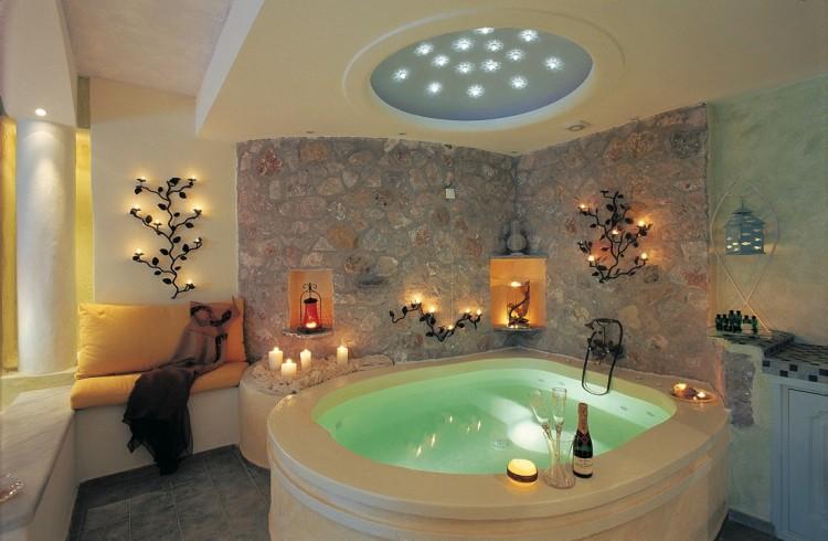 Honeymoon suite private couples Jacuzzi seavolcanocaldera views Astarte Suites Hotel Santorini island 750x490 Getaway Taken To Remarkable Romantic Heights: Astarte Suites, Santorini