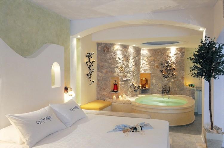 Honeymoon suite private couples Jacuzzi seavolcanocaldera views Astarte Suites Santorini island 750x497 Getaway Taken To Remarkable Romantic Heights: Astarte Suites, Santorini