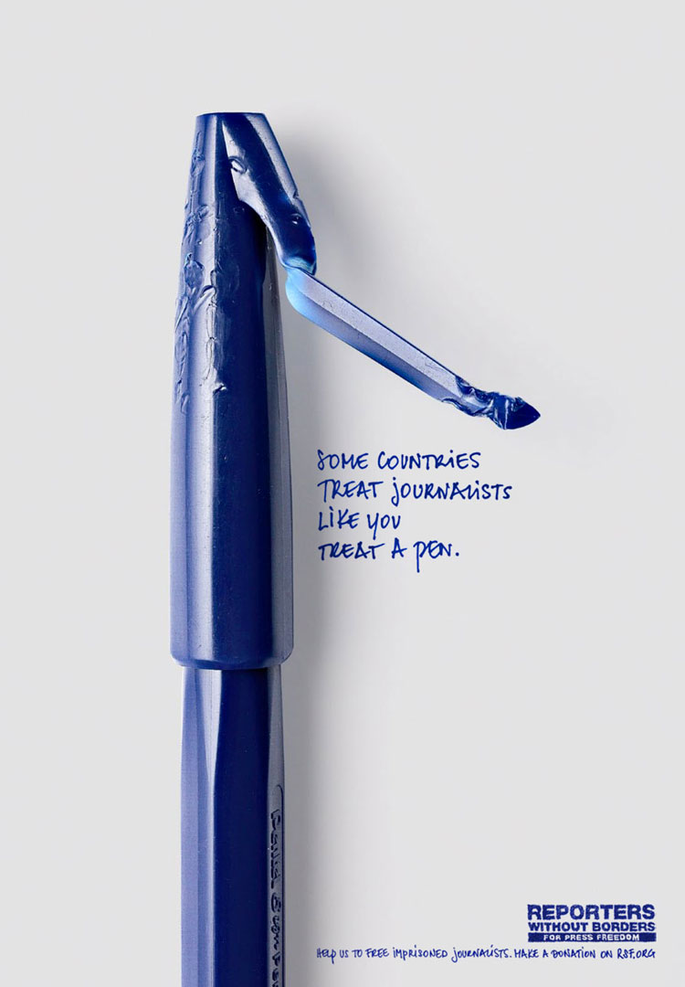 DYT Reporters Sans Frontieres Stylo 1 Some countries treat journalists like you treat your pen