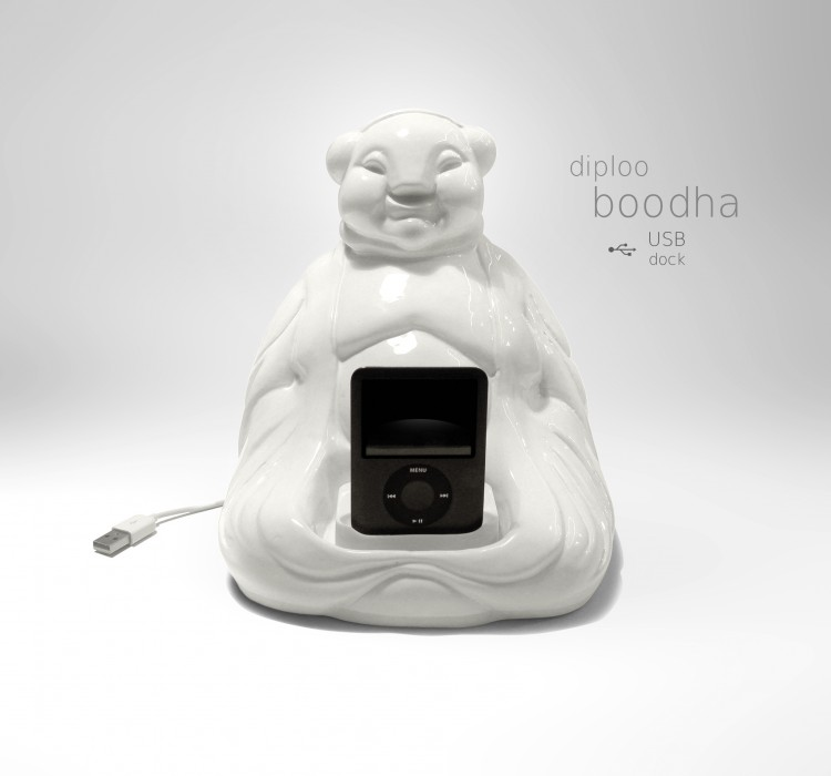 boodah2n 750x700 BOODHA by Diploo Studio! Hand made ceramic figure with USB dock, made to load some positive energy to your device:)