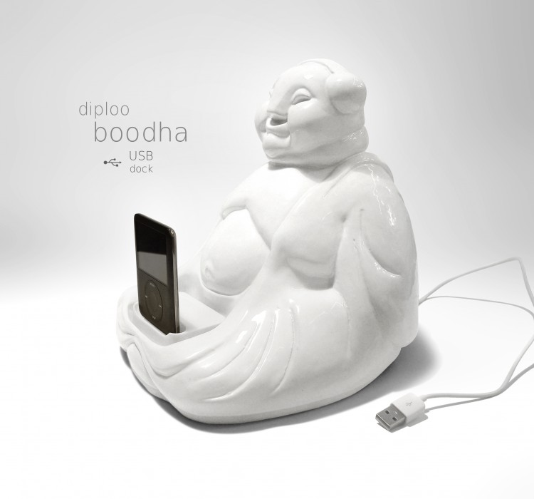 boodah3n 750x700 BOODHA by Diploo Studio! Hand made ceramic figure with USB dock, made to load some positive energy to your device:)