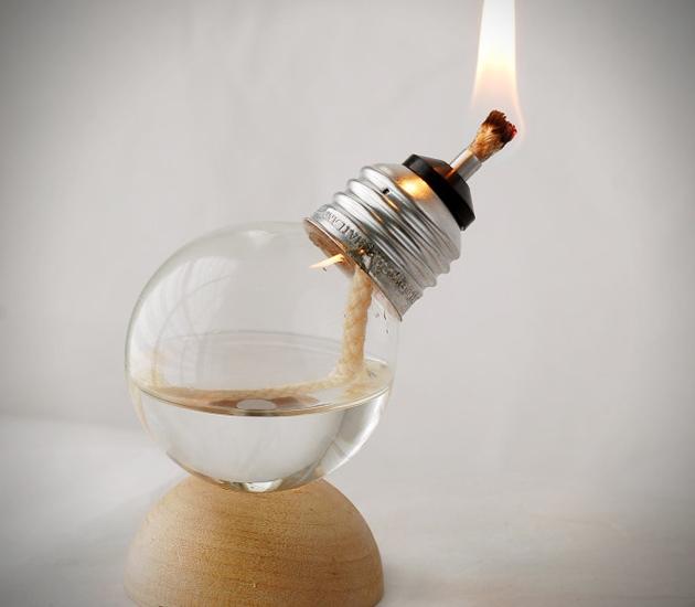Mini Recycled Light Bulb Oil Lamps 1 Miniature Recycled Oil Lamps Made From Light Bulbs