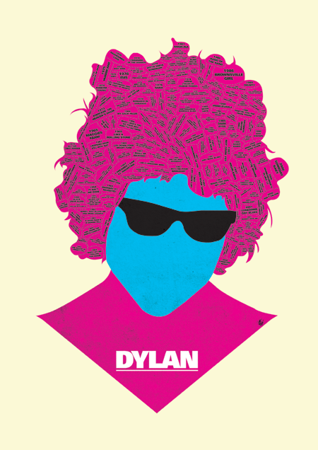 dylan print discography phrenology by @needledesign (Dylan/Bowie/Elvis/Lennon)