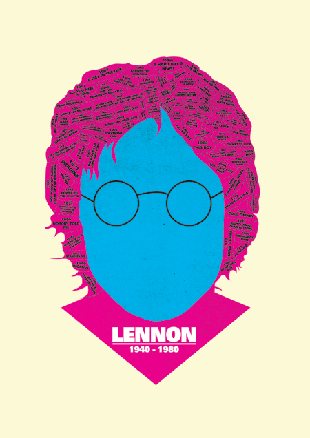 lennon print discography phrenology by @needledesign (Dylan/Bowie/Elvis/Lennon)