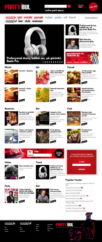 Partybul Evde ya da dışarıda eğlence hayatına ait herşey User friendly party based website: Partybul.com