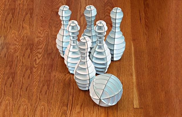 Office bowling, cardboard pieces you can put together to play