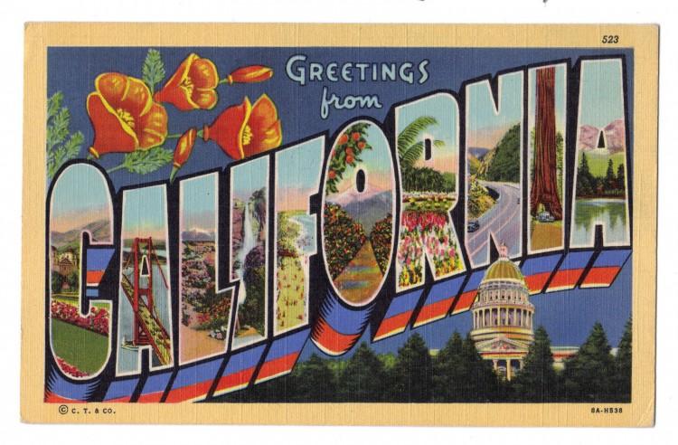 greetings from california vintage postcard 750x492 Vintage Postcard Travel Designs