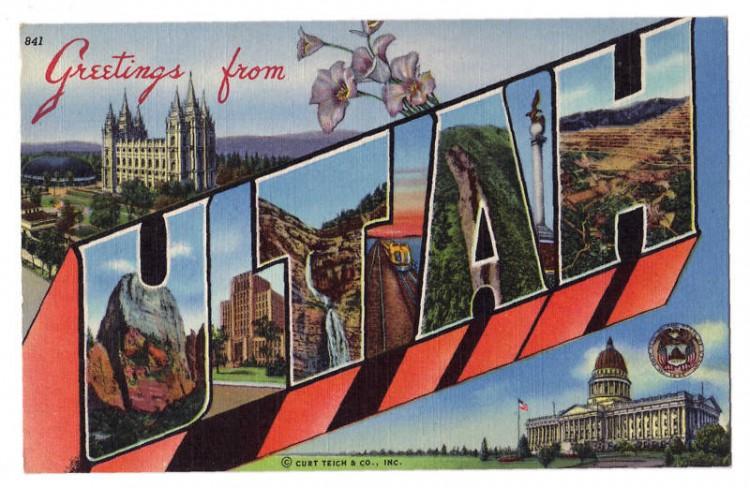 greetings from utah usa vintage postcard 750x488 Vintage Postcard Travel Designs