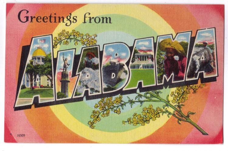 vintage postcard greetings from alabama usa 750x498 Vintage Postcard Travel Designs