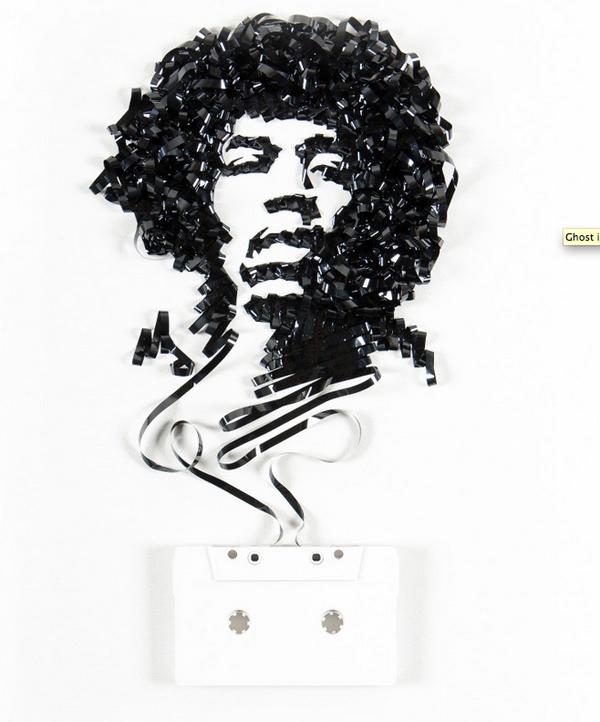 Jimi Hendrix ErikaIris Enpundit Artist Uses Found Items to Sculpt Magic on Paper