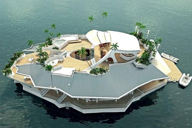 i1a195 Spectacular Floating Island Boat