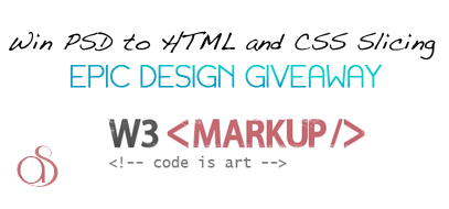 win psd to html and css slicing from w3 markup free design giveaway 2012 407x190 Win PSD to HTML and CSS Slicing from W3 Markup.com