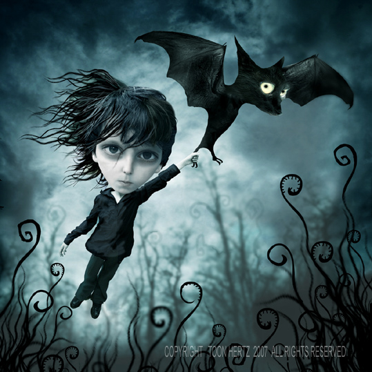 Flying with bat Creative Digital Dark Illustrations by ToonHertz