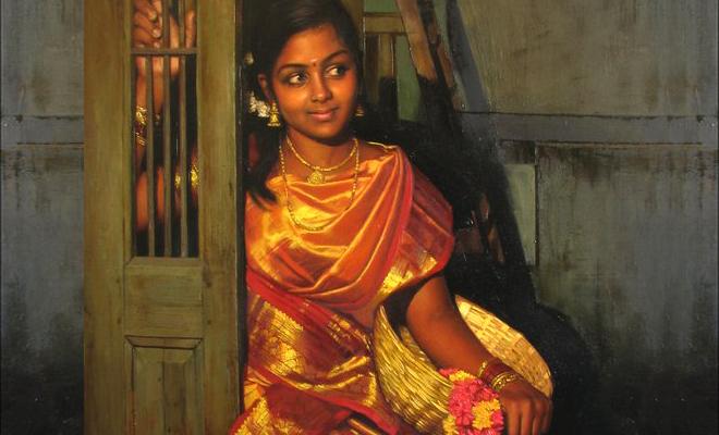 art 13 25 Beautiful Rural Indian Women Paintings by Tamilnadu artist ilayaraja