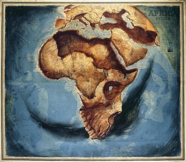 atlas paintings 01 Atlas: Acryl Paintings on Maps by Fernando Vicente