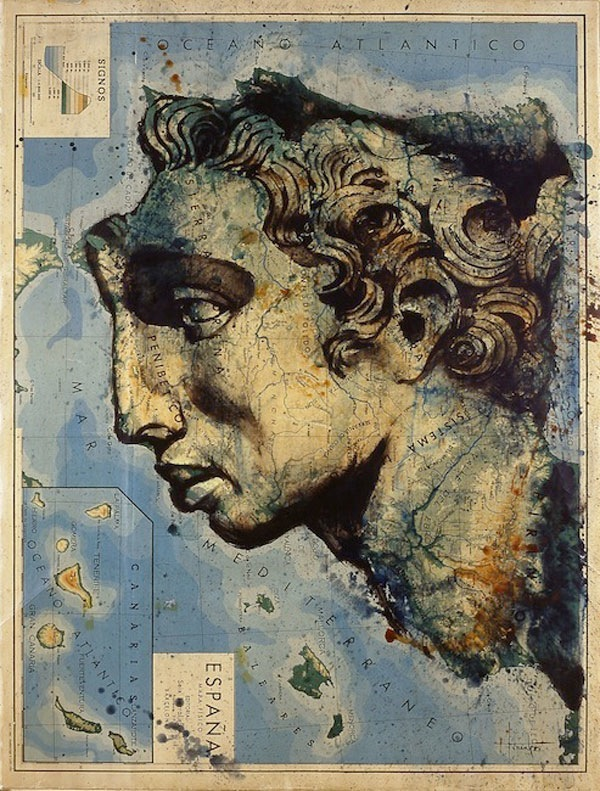 atlas paintings 02 Atlas: Acryl Paintings on Maps by Fernando Vicente