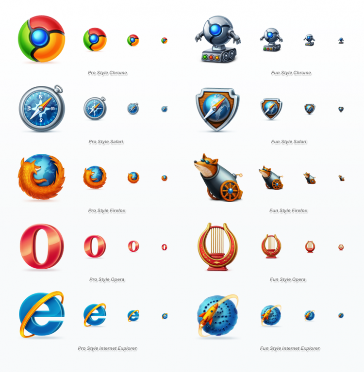 browsers icons full previw 750x767 Browser Icons in Both Professional and Fun Style