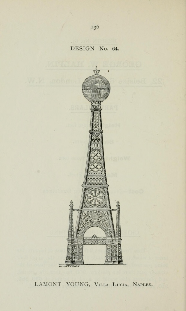 i1a155 DESIGNS FOR THE GREAT TOWER IN LONDON (1890)