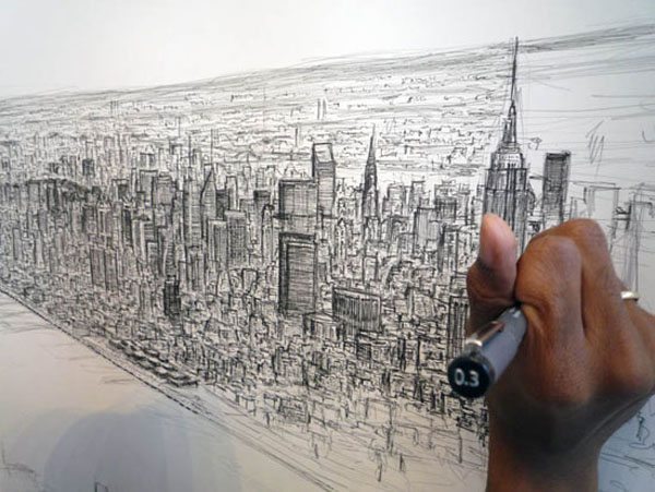 Artist Draws Incredibly Detailed New York Cityscape by Memory