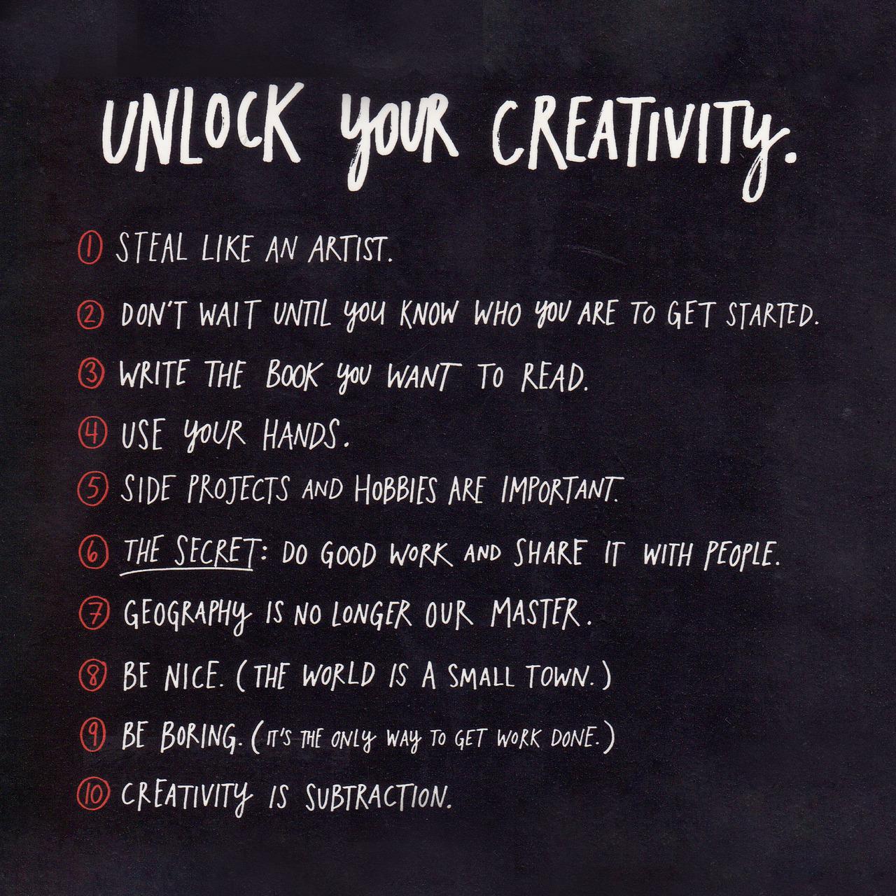 tumblr m8jn6h0u081qzpdhzo2 1280 Unlock your creativity by Austin Kleon