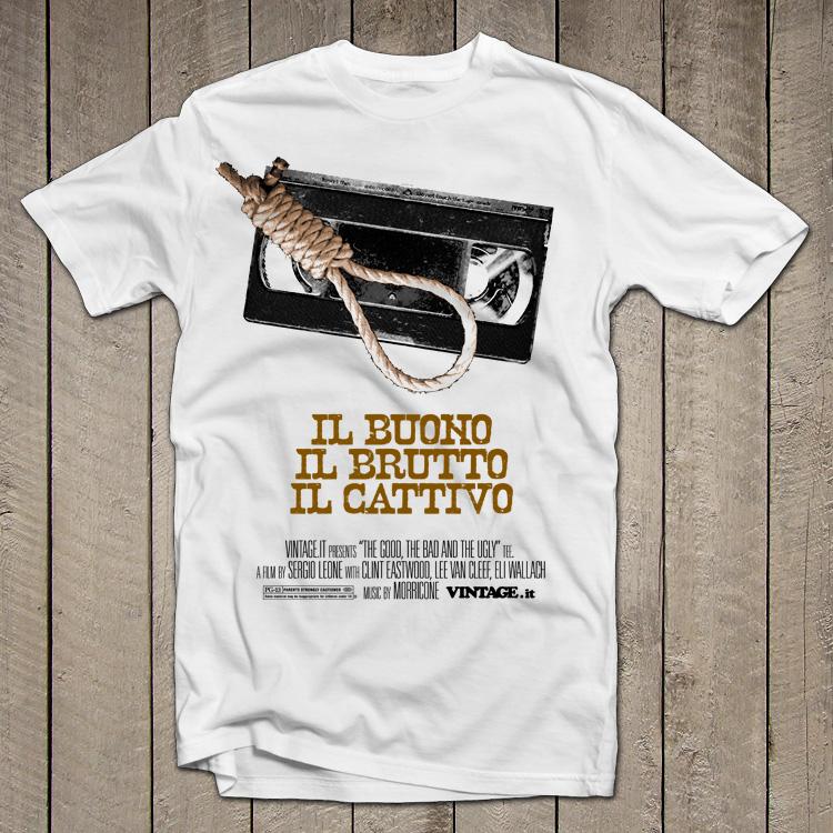 vintage vhs the good the bad and the ugly Il buono, il brutto, il cattivo t shirt