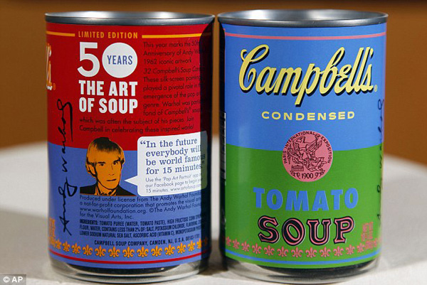 Andy Warhol Inspired Campbell Soup Cans