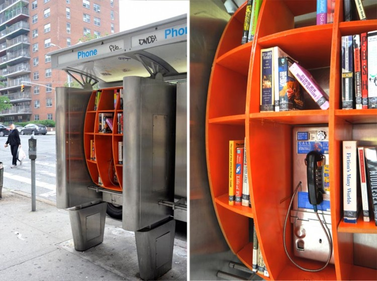 NYC Pay Phone Library collabcubed 750x559 Pay Phones as Libraries
