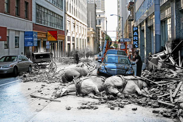 sfearthquake1 mini Images of Part Modern Day San Francisco and Part 1906 Earthquake