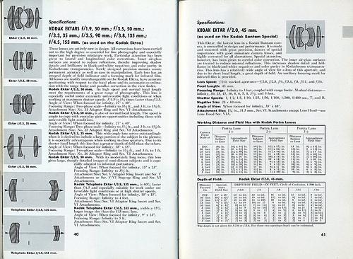 03 Kodak Ektars used in the Ektra and Bantam Special 1941 Kodak Lens Manual 1941
