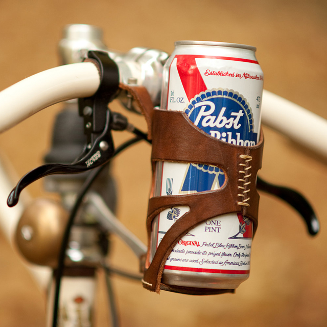 Leather Can Holder for Bikes