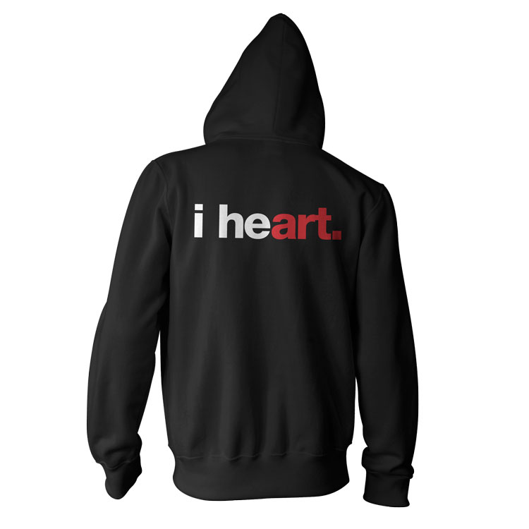 "I HEART ART AA ZIP HOODIE ""i heart"" American Apparel Unisex Fleece Zip Hoodie by WORDS BRAND™"