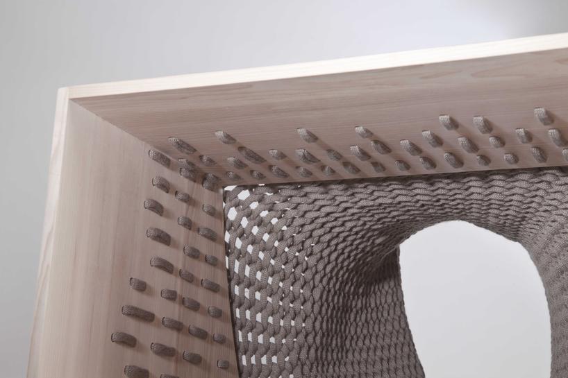 Kata Monus experimental ashwood storage unit 4 Experimental furniture design with textiles   Kata Monus