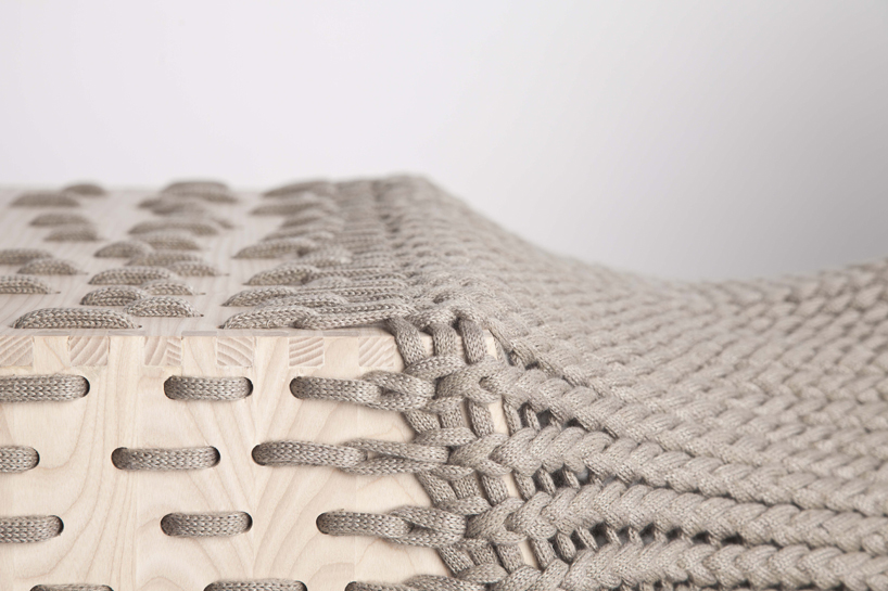 Kata Monus experimental ashwood storage unit 5 Experimental furniture design with textiles   Kata Monus