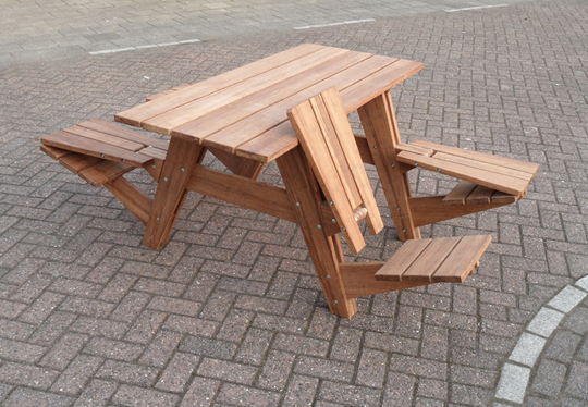 A Picnic Table That Transforms Into Four Lounge Chairs