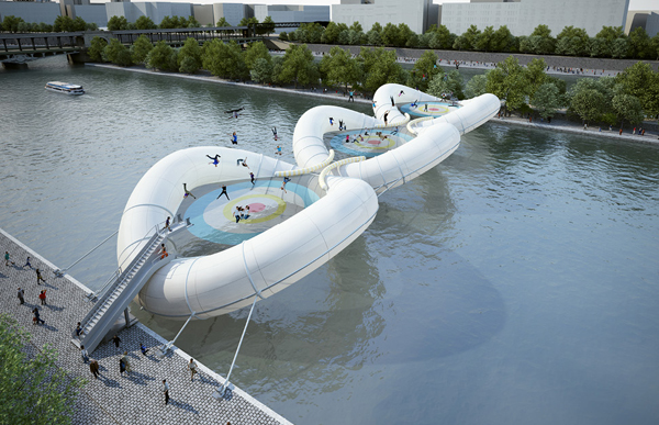 An Inflatable Trampoline Bridge to Cross Over Seine River in Paris