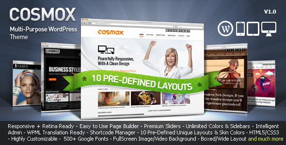 01 preview.  large preview COSMOX   Multipurpose WordPress Theme